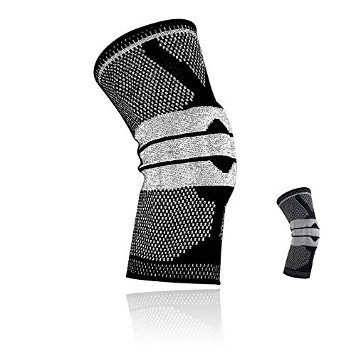Knee Compression Sleeve, Non Slip Reflective Knee Brace for Knee Pain with Side Stabilizers + Silicone Patella Gel Pad for Men and Women, Running, Hiking, Arthritis, ACL, Meniscus Tear, Sports -1 Pack