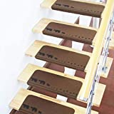 DOLA Tappeti per Scale Interne 15 Pezzi, Antiscivolo per Tappeti, Coprigradini per Scale Interne per Casa, Dormitorio 55 * 22 * 4.5 cm,Brown 2,10pcs
