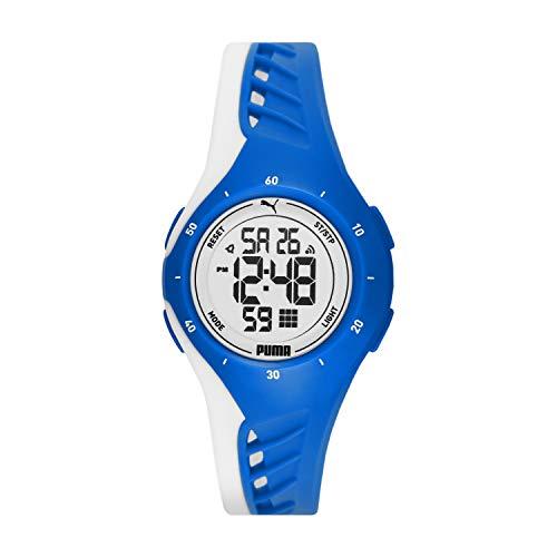 PUMA Unisex PUMA 3 Polyurethane Watch, Color: Blue & White (Model: P6010)