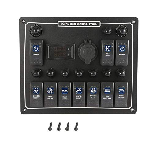 Logicstring 10 Pandillas Impermeable Coche Auto Barco Marino Led AC/DC Panel De Interruptor Basculante Control De Potencia Dual Protección contra Sobrecarga 15A DC Salida