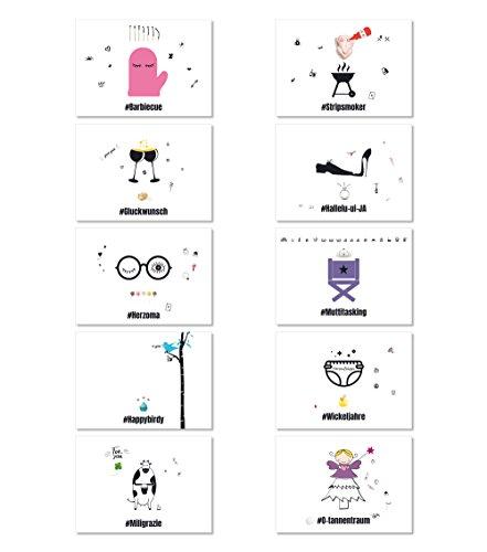 Hashtag Grußkarten Set HGK-S1, Sparset, mit 10 verschiedenen Motiven, partieller UV-Lack, Postkarten DIN A 6