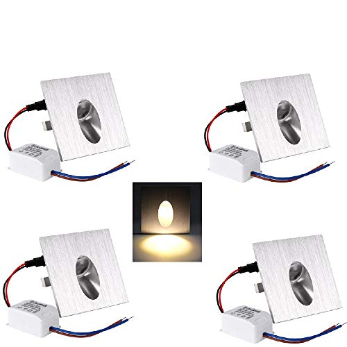 OLEEP LED Einbaustrahler Wand Lampe Treppen-Licht Stufenbeleuchtung, Eckig, 8x8cm, 230V, 1W,Warm-weiß, 4 STK