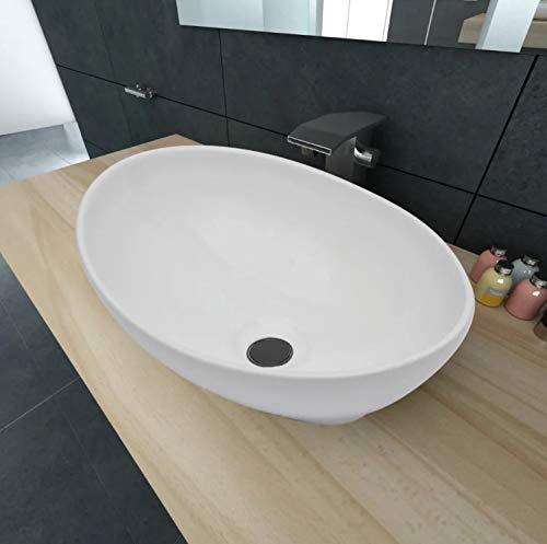 Zerone Lavabo sobre Encimera Ovalado, Lavabo Cerámica Moderno para Baño, Blanco