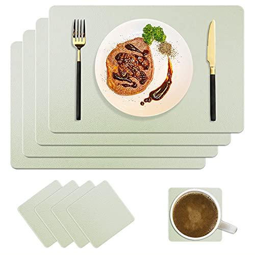 CLTPY - Set di 4 tovagliette all'americana in pelle sintetica lavabile, set da 4 pezzi, impermeabili, antimacchia e sottobicchieri quadrati, per casa, cucina, ristorante e hotel, 45 x 30 cm (grigio)
