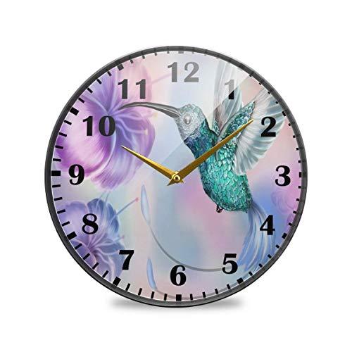 Jacque Dusk Reloj de Pared Moderno,Amapola Colibrí Flor Mariposa,Grandes Decorativos Silencioso Reloj de Cuarzo de Redondo No-Ticking para Sala de Estar,25cm diámetro