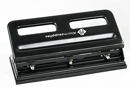HeavyDuty Adjustable 3Hole Punch  30 Sheets Capacity  3Hole Puncher for Binder  Quick and Smooth Punching with Locking Handle and Firm Plastic Chip Tray  All Metal Design  Black