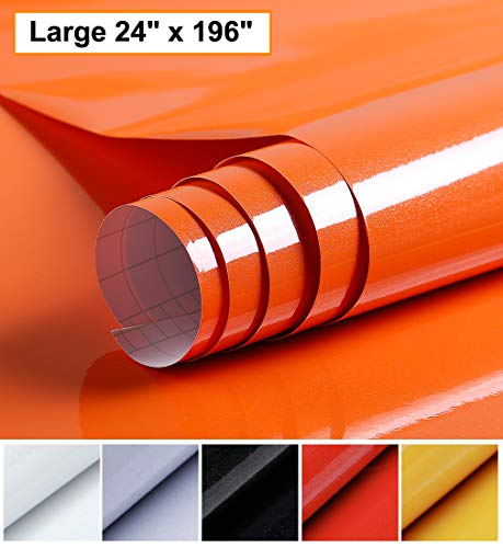 Oxdigi Orange Contact Paper Decorative 24 x 196 inches for Cabinets Countertops Kitchen Shelves Liner Glossy Glitter Self Adhesive Film Peel and Stick Waterproof Removable Wallpaper