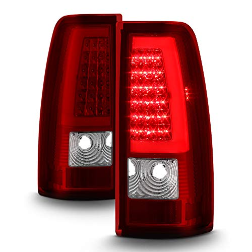 ACANII - For 1999-2006 GMC Sierra 1500 99-02 Chevy Siverado Red LED Tube Tail Lights Lamps