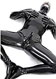 BOYH Sexy Men Wet Look DS Stage Catsuit Clothing Prisoner Patent Leather Jumpsuits Cosplay Zentai Catsuit Gloves Mask Bodysuit,M