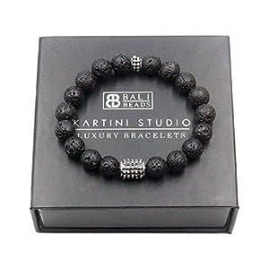 Volcanic Lava and Sterling Silver Bracelet, Men's Lava Stone Bracelet, Bali Beads Bracelet
