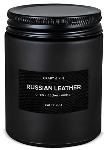 Scented Candles for Men | Russian Leather Scented Candle | Soy Candles for Home Scented | Aromatherapy Candle Men Candles | Candle for Men Candles | Long Lasting Candles | Leather Candle in Black Jar