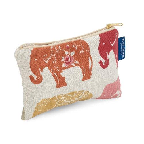 Blue Badge Company gewatteerde katoen rits tot cosmetica portemonnee met waterdichte voering, kleine Indian olifant print