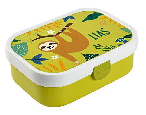 Mein Zwergenland Brotdose Mepal Campus inkl. Bento Box und Gabel mit eigenem Namen Lime, Faultier