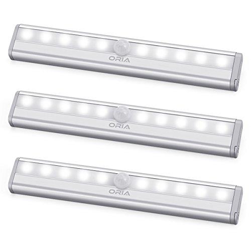 ORIA LED Schrankbeleuchtung Licht, 3er Pack Nachtlicht mit Bewegungsmelder Sensor Schrank Licht, Schranklampe mit 10 LED und Magnetstreifen, Auto ON/OFF Licht für Küche,Korridor - Weiße