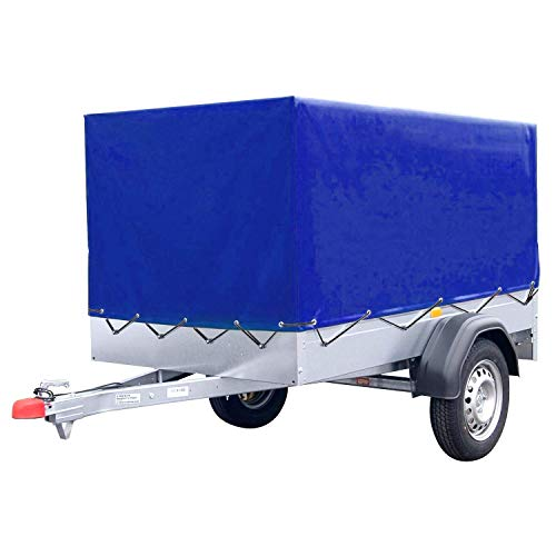 FIXKIT Anhängerplane Blau Hochplane mit Gummigurt (2100x1140x880 mm) für Anhänger