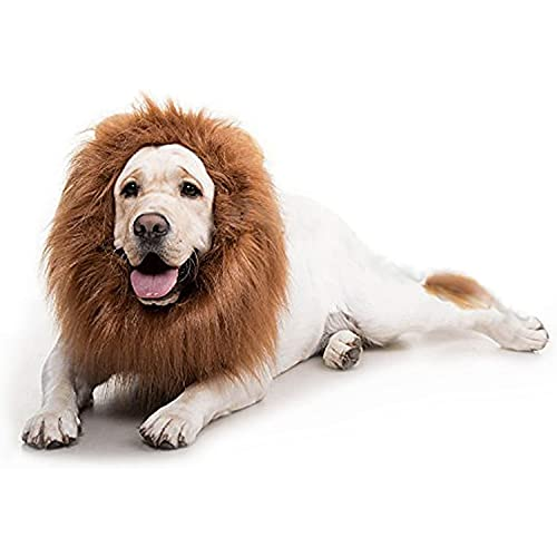 Dog Lion Mane for Halloween Party, Lion Wig Clothes for Medium Funny Dogs (Dark...