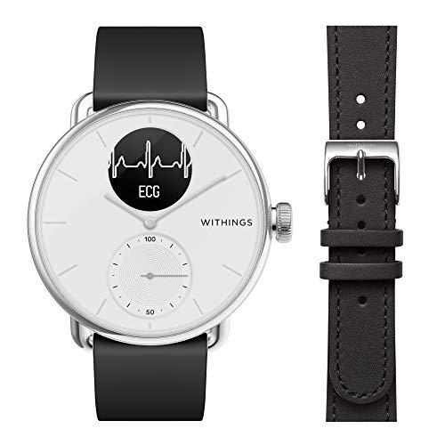 Withings ScanWatch - Reloj Inteligente híbrido con ECG, tensiómetro y oxímetro, 38 mm, Color Blanco + Correa para Reloj WRLEBL18, 36 mm
