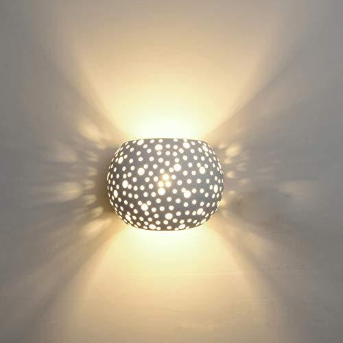 HKLY Lámpara De Pared LED Moderna, 5W Luz Noche Lámpara De Pared De Yeso Con Pantalla Hueca Iluminación Interior Para Decoració Para Dormitorio Salón Y Habitación, Blanco Cálid