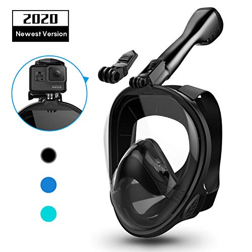 Aegend Full Face Snorkel Mask with Upgraded Safety Breathing System, 180°Panoramic Larger View Snorkel Set Anti-Fog Anti-Leak, Detachable Camera Mount, Fit for Adult Youth Kids, Black L/XL