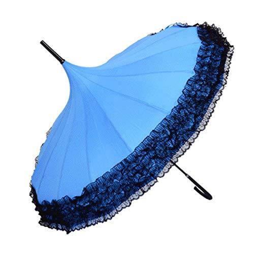 Foldable Umbrella Klassischer Regenschirm, Langer Griff Haken Regen Getriebe Dame Prinzessin Spitze Pagode Regenschirme Für Gerade Bar Halbautomatische Sonnenschirm Frauen,SkyBlue,1Pcs