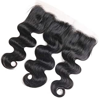 13 x4 Lace Frontal Body Wave, Unprocessed Brazilian Virgin Remy Hair Ear To Ear Lace Frontal With Baby Hair Natural Color Knots Can Be Bleached (8 inch)