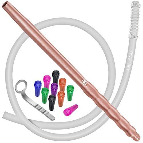 DILAW® Shisha Silikonschlauch Set mit Alu Mundstück inkl. 10 x Hygienemundstücke + Schlauchhalter + Knickschutzfeder- Premium Schlauch 150cm Matt - für alle Wasserpfeifen - Zubehör, Farbe: Rosé Gold