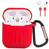 AirPods Case Cover, Silicone Protective Case and Skin for AirPods Charging Case with AirPods Anti-Lost Strap/AirPods Hooks, [Buy 1 Get 5 Accessories] (RED)
