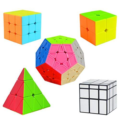 Cooja Cubos de Velocidad, 5 Piezas Speed Cube Set 2x2 + 3x3 + Pyraminx + Megaminx + Mirror Cube, Smooth Magic Cube Puzzle Durable Regalo de Juguetes para Niños Niñas