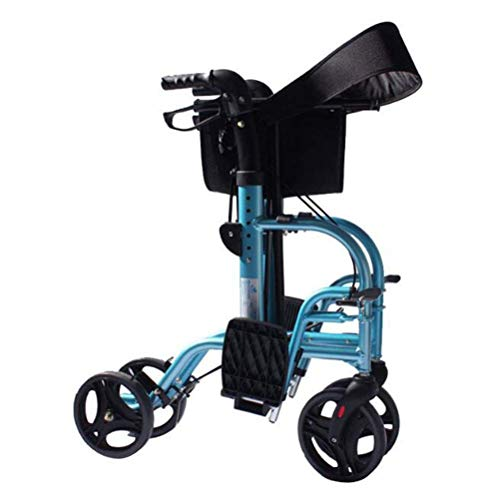 TWL LTD-Wheelchairs Marco para Caminar con Andador 2 en 1 con Reposapiés Silla de Ruedas de Aluminio Plegable para Ancianos Walker Plegable Silla de Ruedas Dfhs