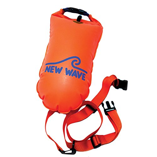 New Wave Swim Buoy for Open Water Swimmers and Triathletes - Light and Visible Float for Safe Training and Racing - Nylon TPU (Orange 15L Medium)