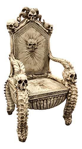 Ebros 56' High Fantasy Underworld White Walker Skeleton Spine Bone Skull Throne Chair Furniture Seating As Centerpiece Gothic Goth Decor with Bones Skulls and Skeletons Theme Meticulous Details
