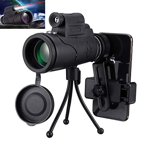 KHFJ Binoculares Ultra HD40x60 Telescopio De Linterna LED Monocular HD Day Night Vision con Soporte para Teléfono con TrípodeViajes
