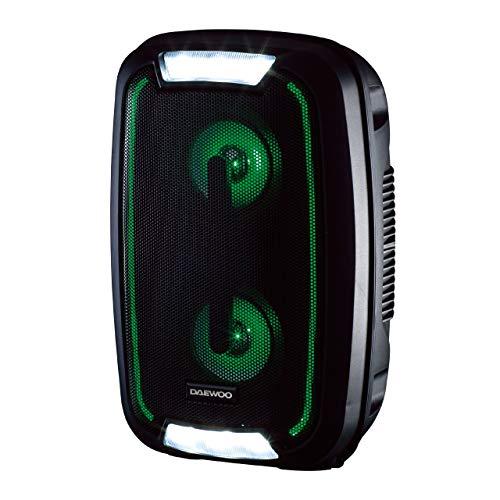 Daewoo - Altoparlante LED Bluetooth per feste, con uscita audio da 20 W e display a LED che cambiano colore, qualità del suono e portata di 33 m, radio FM (nero)