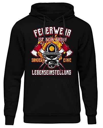 Uglyshirt89 Feuerwehr Männer Herren Kapuzenpullover | 112 Feuerwehrmann Freiwillige Kameradschaft Logo | M3 (XL)