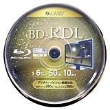 Lazos ブル-レイディスク BD-RDL1回録画用デ-ター&ビデオ対応(50GB 130min)1-6倍速ホワイトプリンタブル10枚スピンドルケース