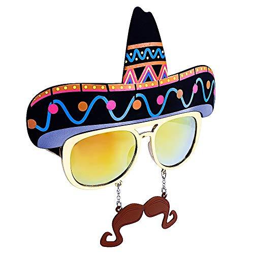 Costume Sunglasses Sombrero Sun-Staches Party Favors UV400, one-size (80607)