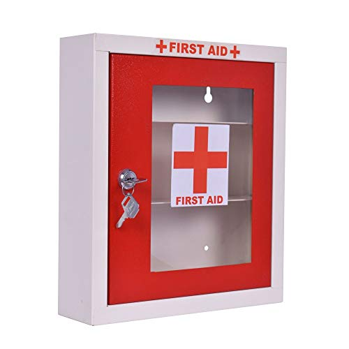 Plantex Emergency First Aid Kit Box for Home - School - Office/Wall Mount/Multi Compartment (Red and Ivory)