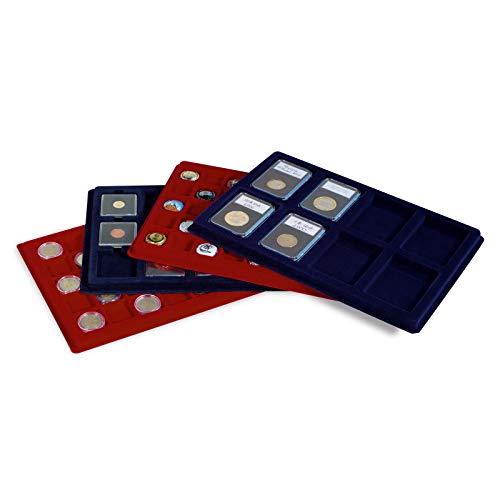Leuchtturm Münztableau L mit 15 Fächern für Münzrähmchen bis 50x50 mm oder QUADRUM, blau