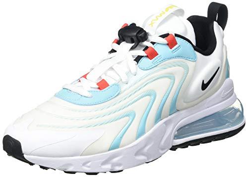 Nike Air MAX 270 React Eng, Zapatillas para Correr Hombre, White/Black/Bleached Aqua/Chile Red/Speed Yellow, 45 EU