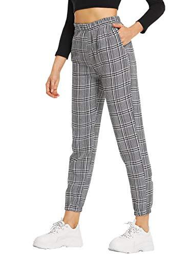 SweatyRocks Women's Elastic High Waist Plaid Tapered Casual Pants with Pocket Grey XL