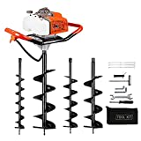 """63CC Auger Post Hole Digger, 2 Stroke Earth Auger Gas Powered with 4 Auger Drill Bits(4' &6""""& 8' & 12') for Farm Fence Garden Plant   3 Packages Sent Out"""
