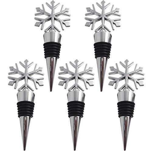TWDYC Nuevo diseño 5 unids Metal Navidad Copo de Nieve tapón de Botella de Copa de Vino Twist Cap Plug Reutiliz Vacuum Sellado Caliente