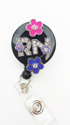 3D FLOWER RN LOGO Nurse Rhinestone Retractable Badge Reel/ ID Badge Holder