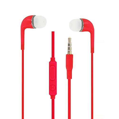 Auriculares Rojas Audio in-Ear de Silicona Ultra Confort Aislamiento el Ruido con Control de Volumen y micrófono para ZTE Axon 7Mini