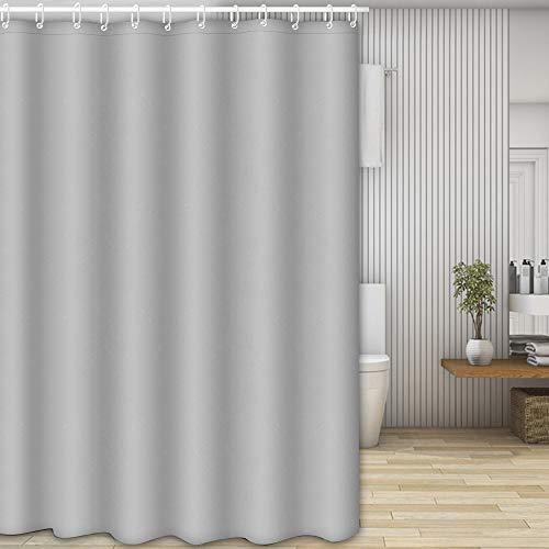 Nasharia Duschvorhänge, Waschbar Badvorhänge aus Polyester, Wasserdicht Anti-Schimmel, Anti-Bakteriell mit 12 Duschvorhangringe Design, 180 x 200cm, Grau