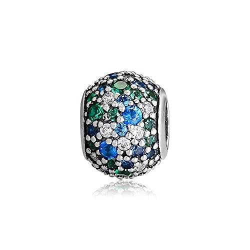 Diy 925 Pandora Colgante De Plata Esterlina Mezcla De Cristales Verdes Océano...