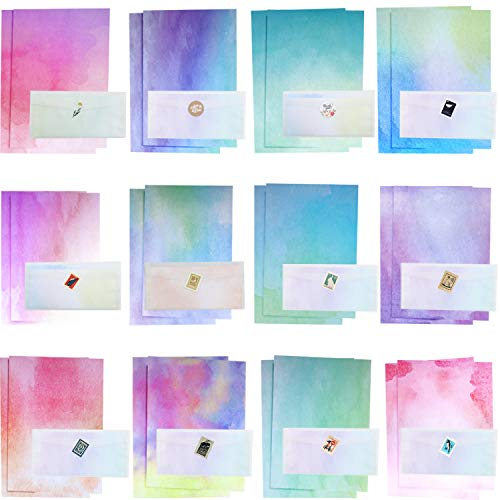 Stationary Paper and Envelopes Set Watercolor Styles Letter Writing Stationery Paper Set Includes 60 Pieces Stationery Papers, 30 Pieces Translucent Envelopes and 4 Kinds Envelop Stickers