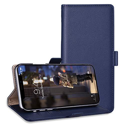 Preisvergleich Produktbild RuiPower Kompatibel für iPhone XR Hülle Handyhülle Schutzhülle Leder PU Wallet Flip Case Lederhülle Ledertasche Klapphülle Klappbar Magnetisch Ultra Dünn Slim Inner Silikon - Blau