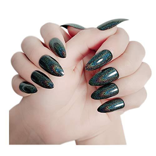 24 STÜCKE Stiletto falsche Nägel Regenbogen Chrom gefälschte Nägel Künstliche Chamäleonnägel Nagelspitzen mit Spiegeleffekt