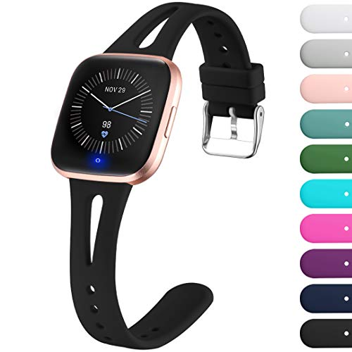 Ouwegaga Compatible with Fitbit Versa 2 Bands for Women Men Versa Lite Bands Black Small